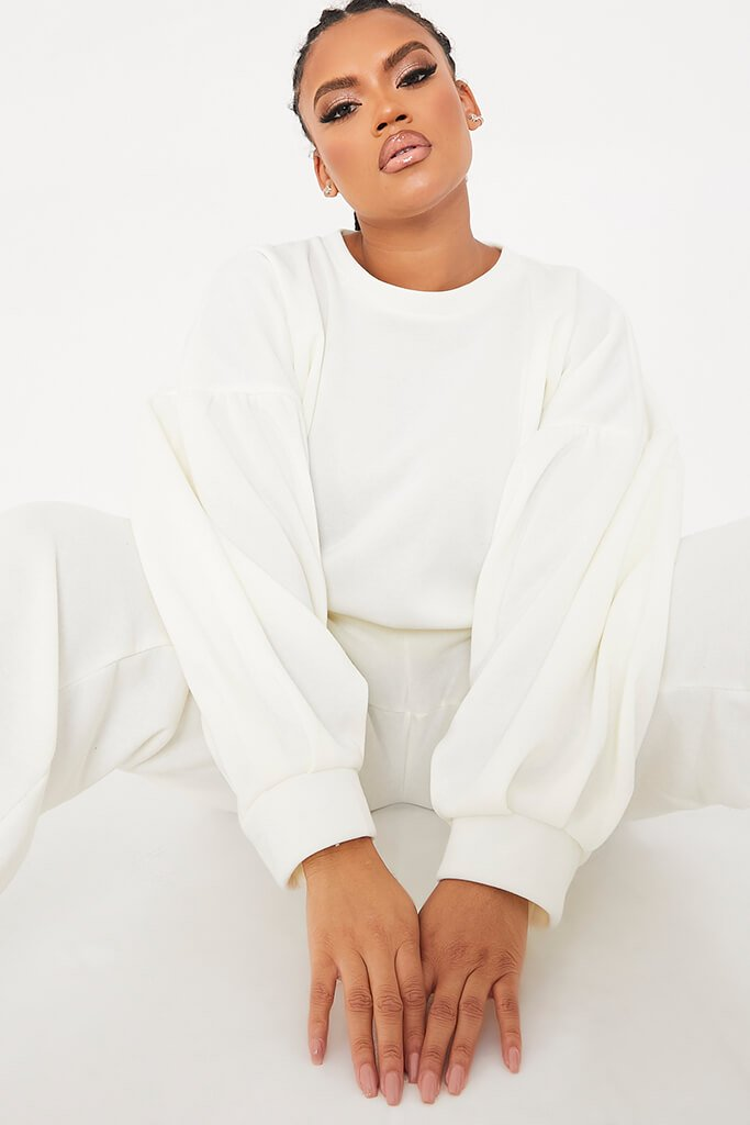White Plus Brushback Drop Shoulder Puff Sleeve Sweatshirt