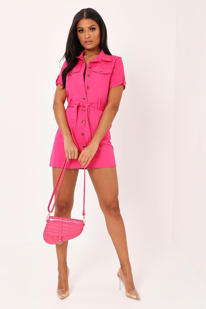 Fuchsia Utility Stretch Crepe Mini Dress view 2