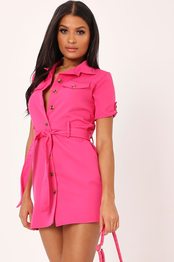 Fuchsia Utility Stretch Crepe Mini Dress