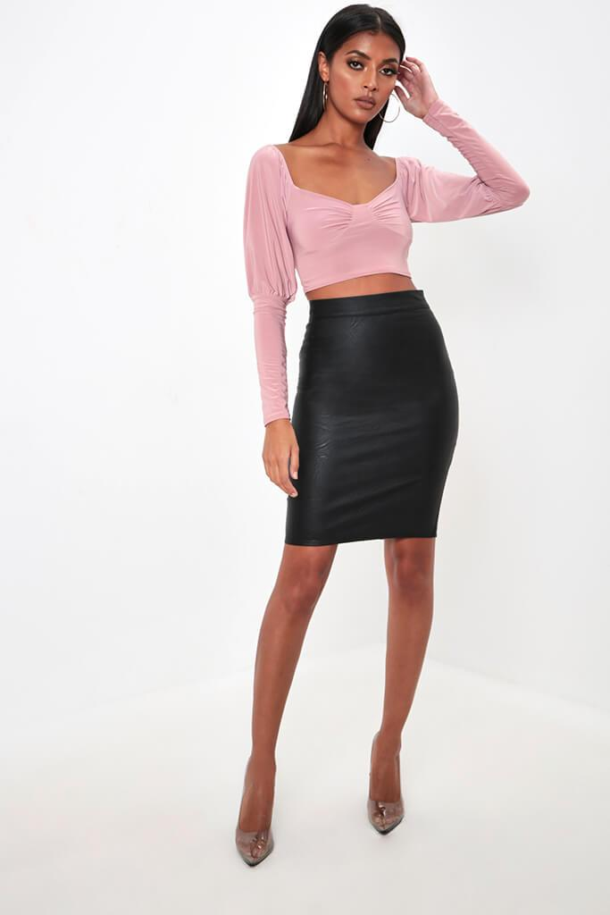 Blush Ruched Milk Maid Slinky Crop Top view 2