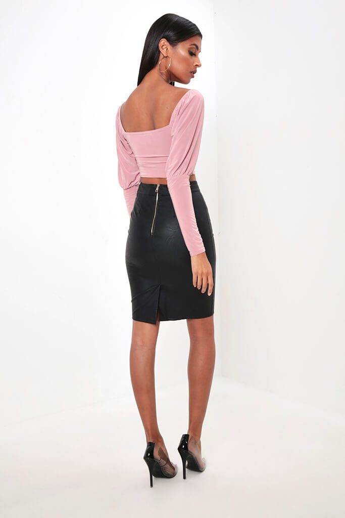 Blush Ruched Milk Maid Slinky Crop Top view 5