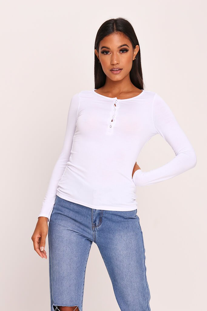 White Jersey Long Sleeve Button Top