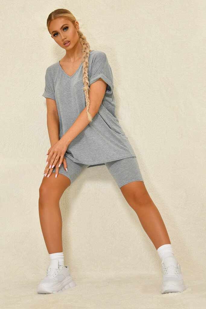 Grey Basic V-Neck Oversized T-Shirt view 3