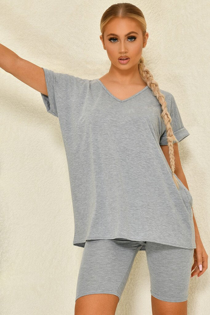 Grey Basic V-Neck Oversized T-Shirt view 2
