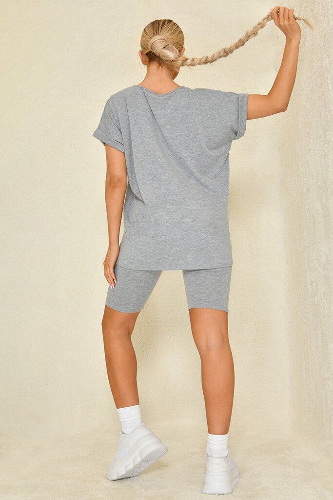 Grey Basic V-Neck Oversized T-Shirt view 5