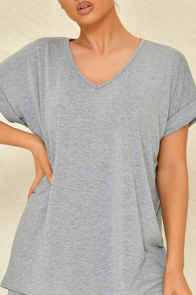 Grey Basic V-Neck Oversized T-Shirt view 4
