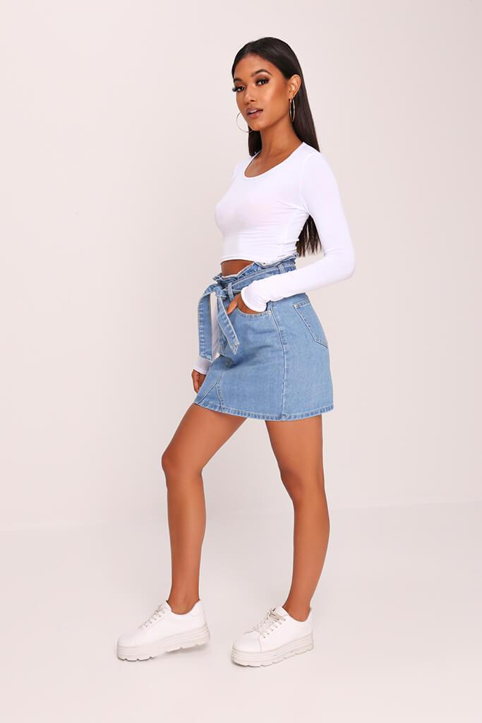 White Jersey Long Sleeve Crop Top view 3