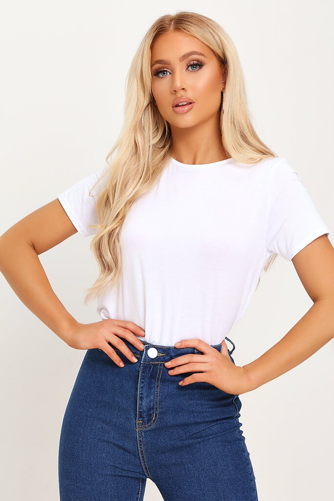 White Basic Round Neck T-Shirt