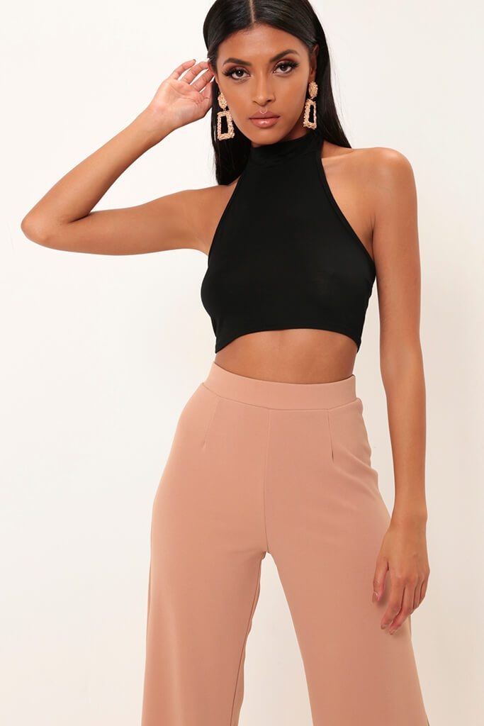 Black High Neck Jersey Crop Top