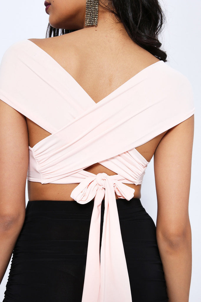 Nude Slinky Crop Top With Crossover Tie Back