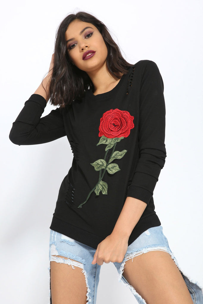 Black Floral Ripped Sweater view 2