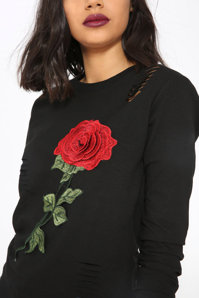 Black Floral Ripped Sweater view 3
