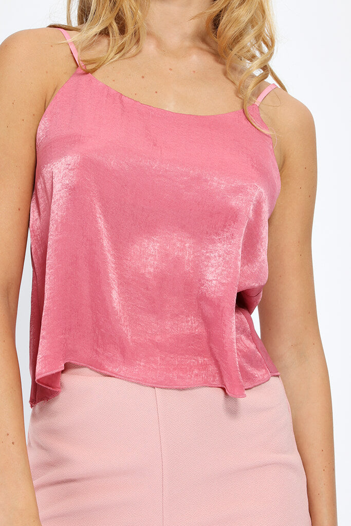 Pink Cropped Cami Top