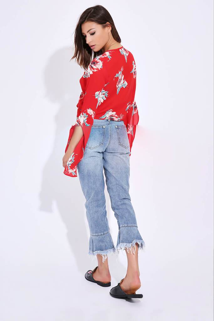 Red Floral Tie Front Top