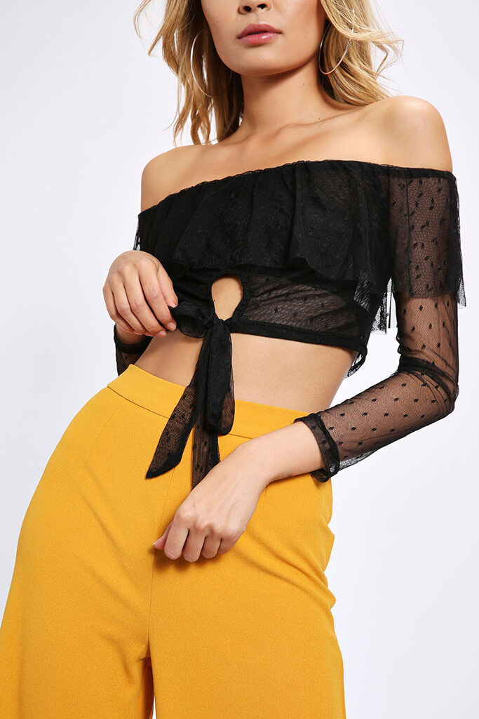Black Bardot Polka Dot Mesh Top