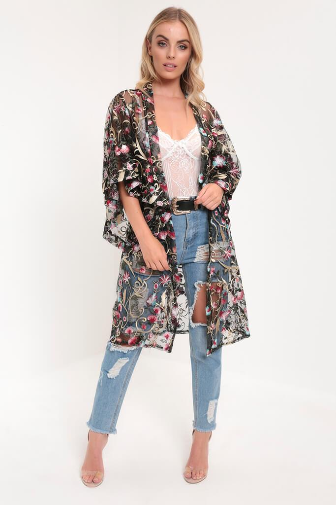 Black Embroidery Floral Embroidered Kimono view 2