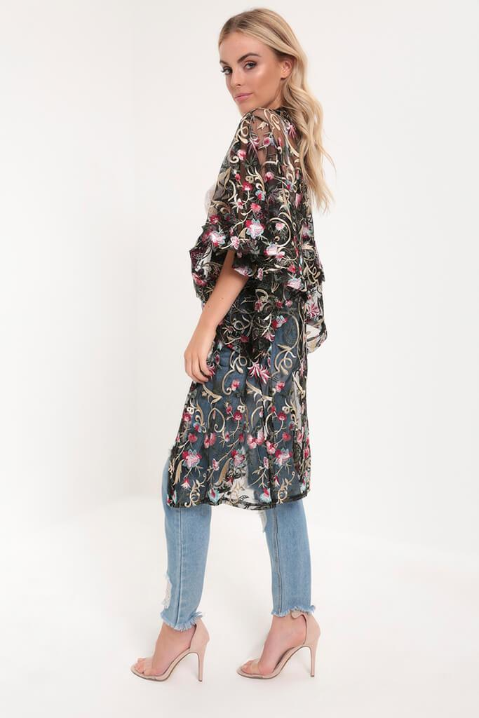 Black Embroidery Floral Embroidered Kimono view 3