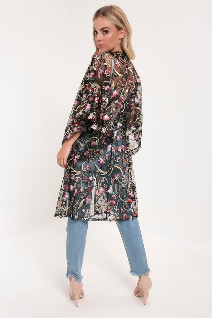 Black Embroidery Floral Embroidered Kimono view 5