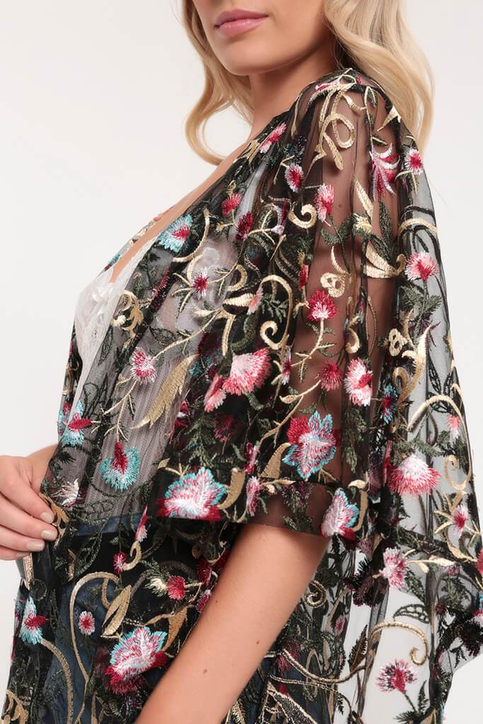 Black Embroidery Floral Embroidered Kimono view 4