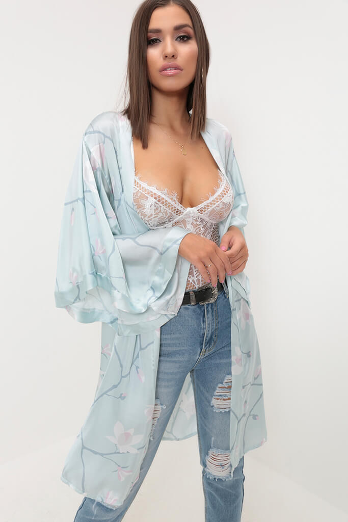 Pale Blue/White Floral Print Satin Kimono view main view