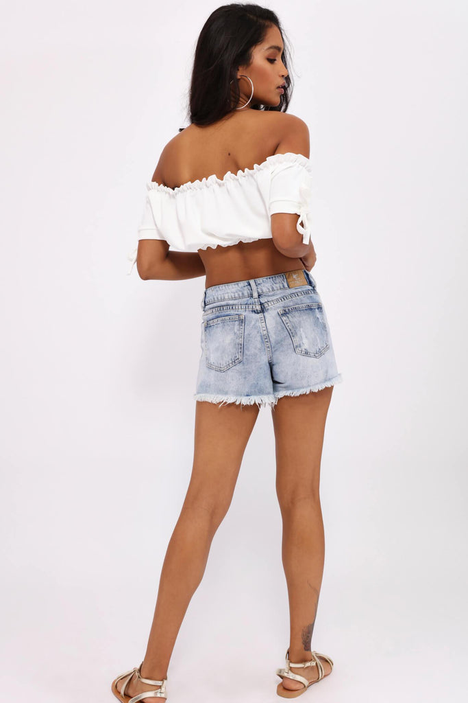 Cream Shirred Hem Crop Top