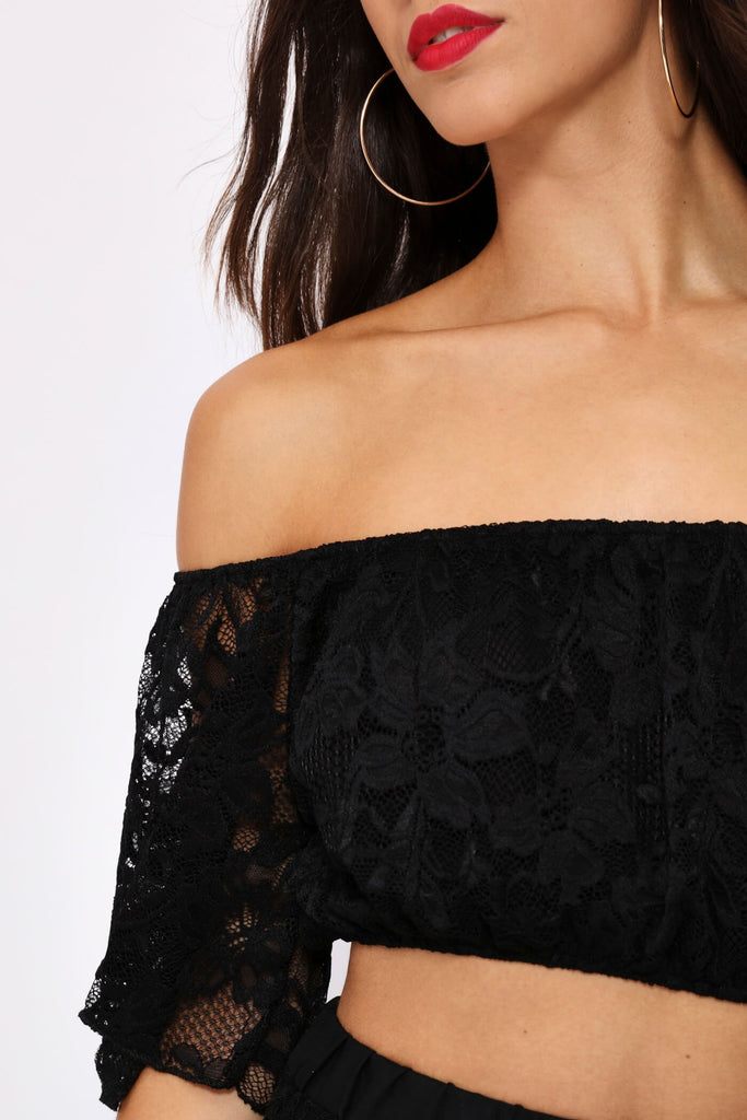 Black Lace Sleeve Cropped Top