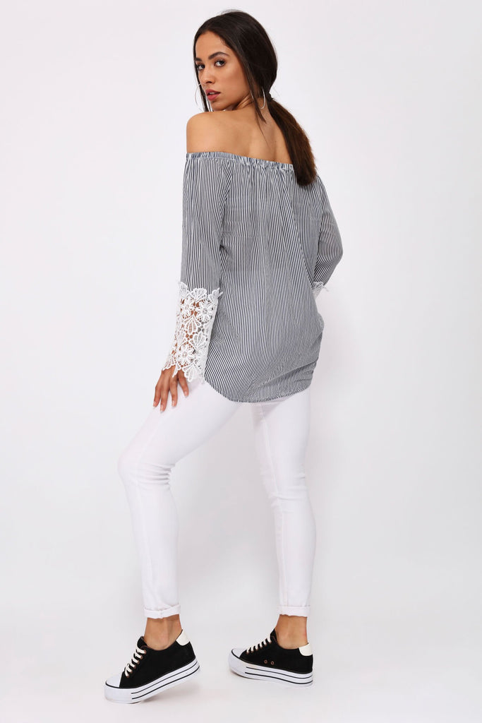 Blue/White Off The Shoulder Stripe Up With Lace Cuffs
