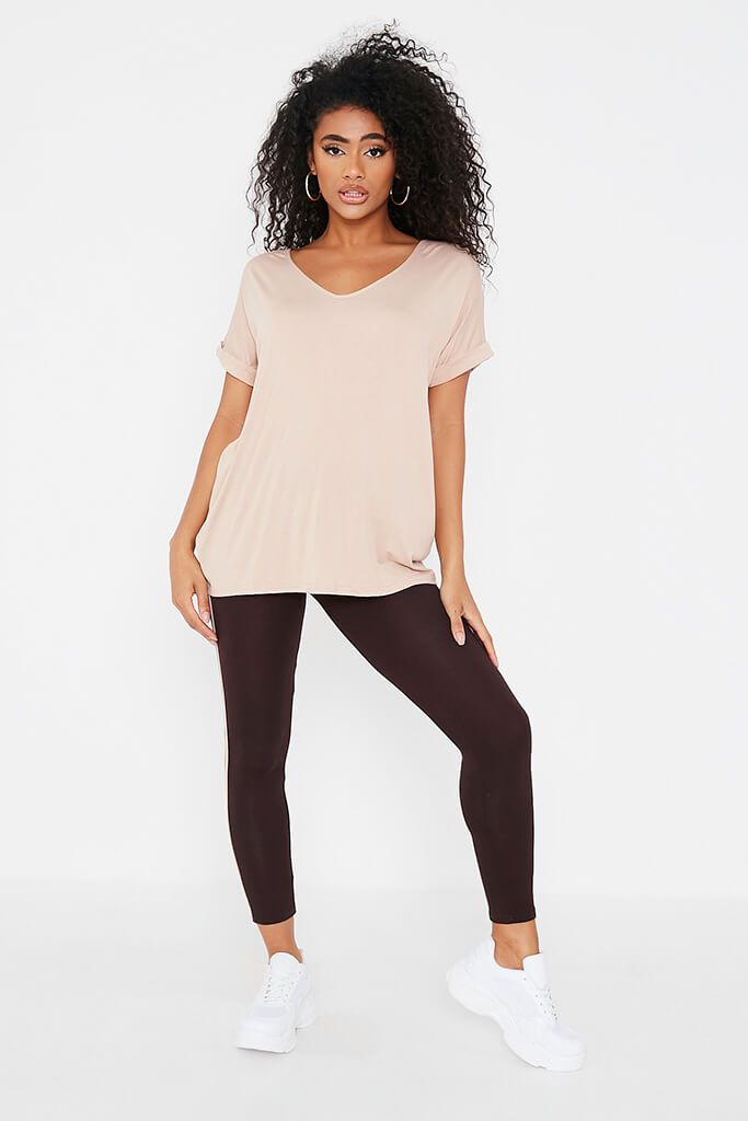 Sand Basic V-Neck Oversized T-Shirt view 2