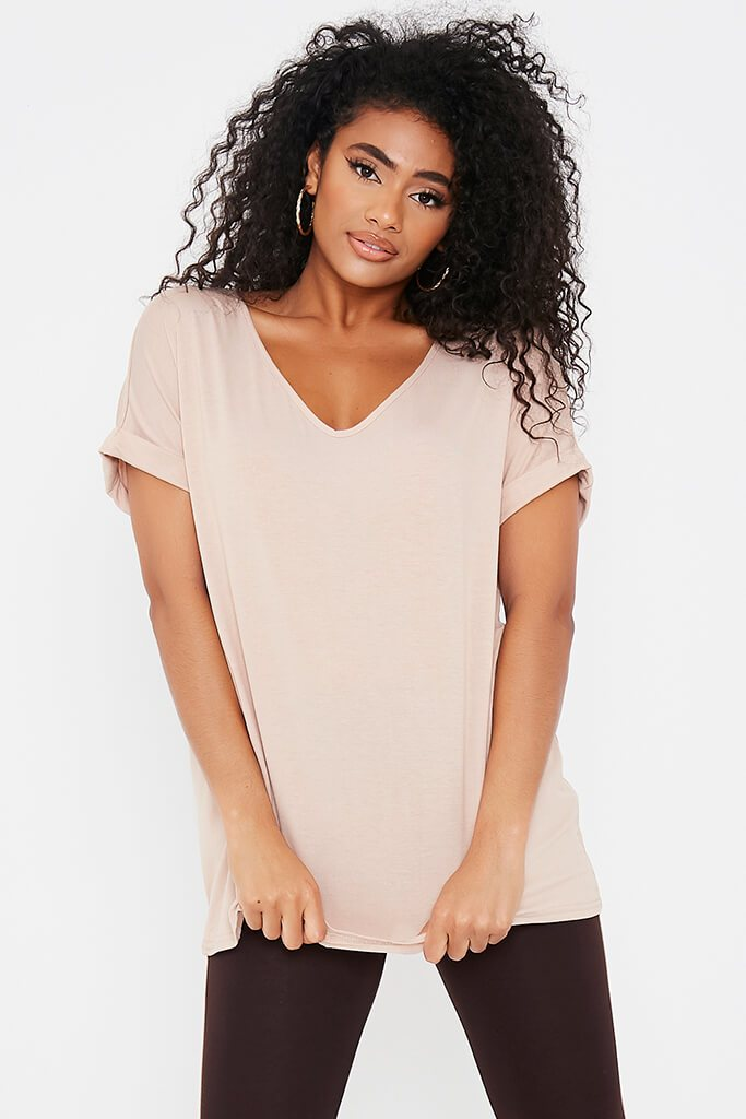 Sand Basic V-Neck Oversized T-Shirt view main view