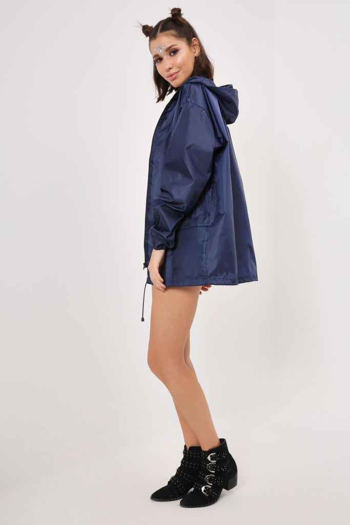 Navy Festival Rain Mac Jacket view 4