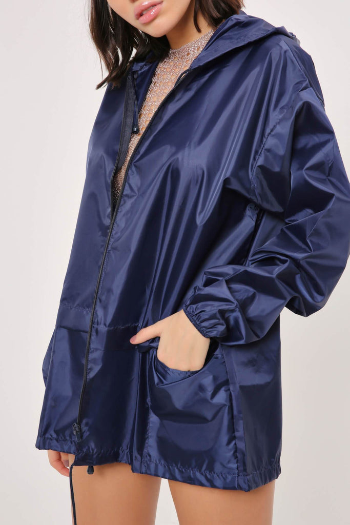 Navy Festival Rain Mac Jacket view 2
