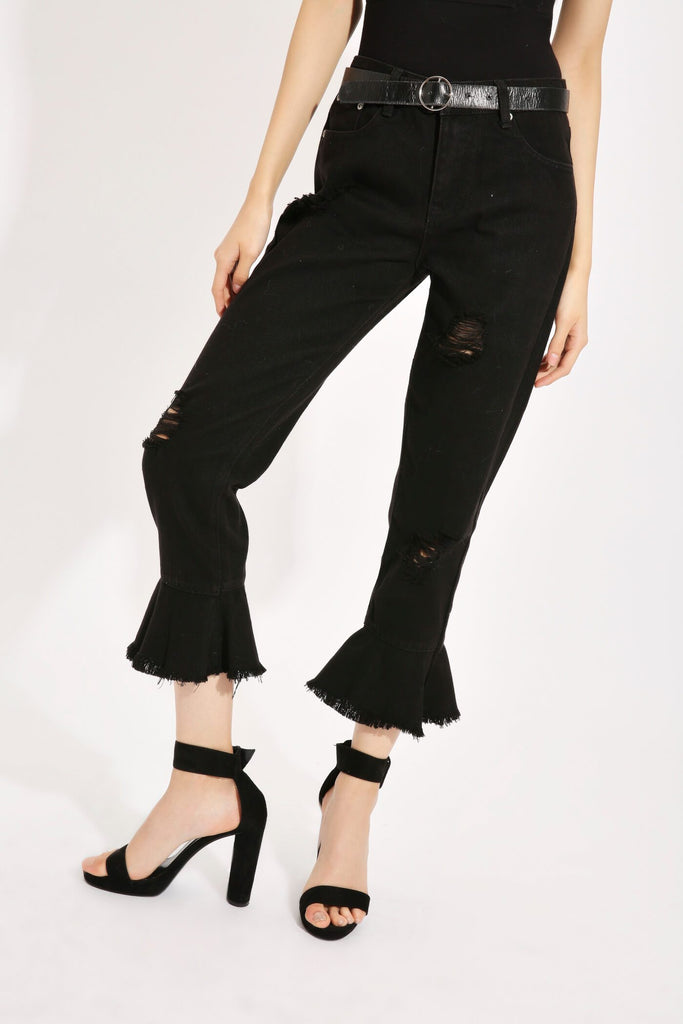 Black Flare Hem Denim Jeans view 2