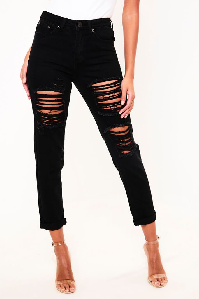 Black Distressed Boyfriend Roll Up Hem Jean view 2