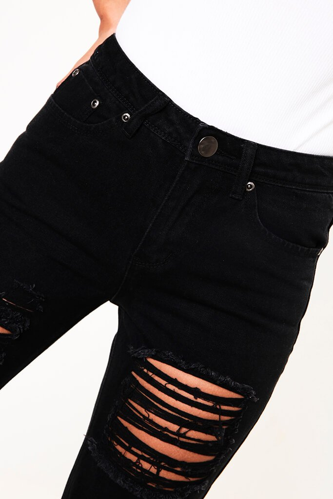 Black Distressed Boyfriend Roll Up Hem Jean view 4