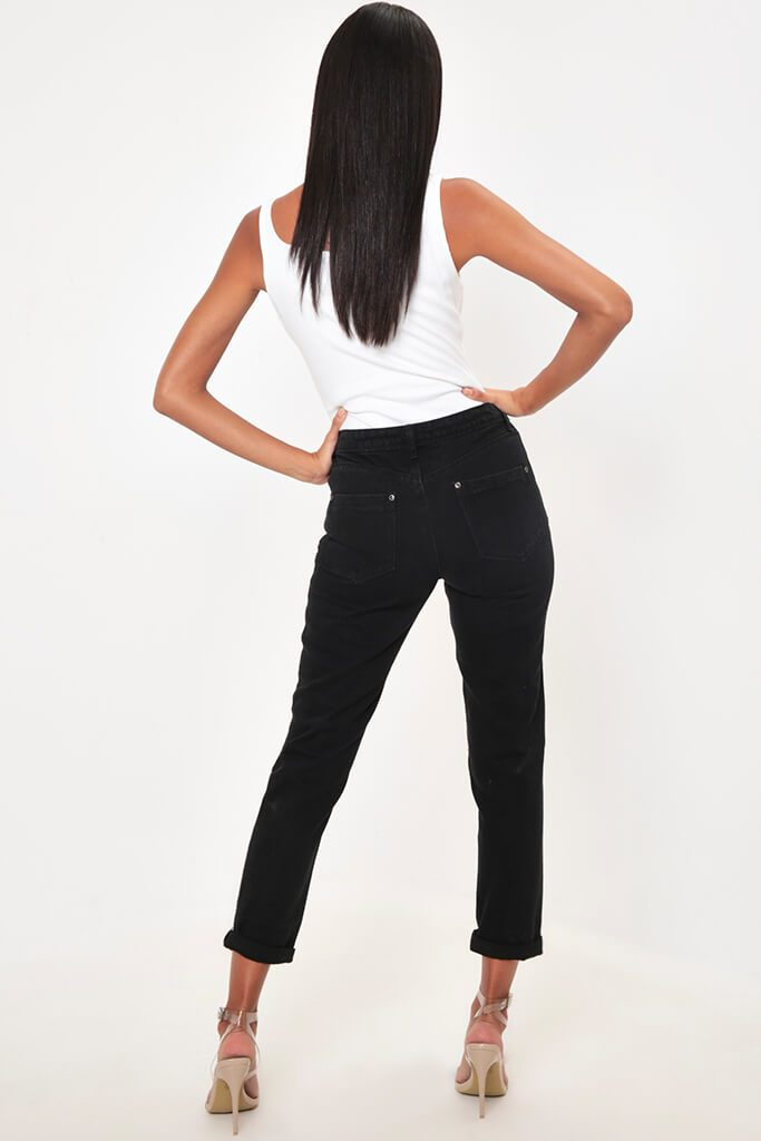 Black Distressed Boyfriend Roll Up Hem Jean view 5