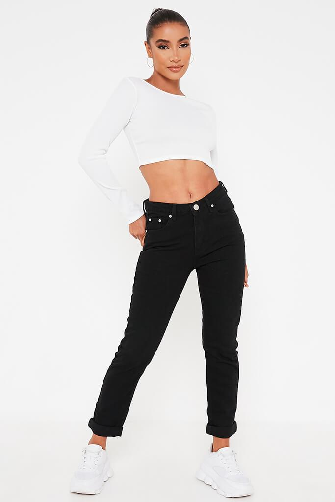 Black Mom Jeans With Roll Up Hem
