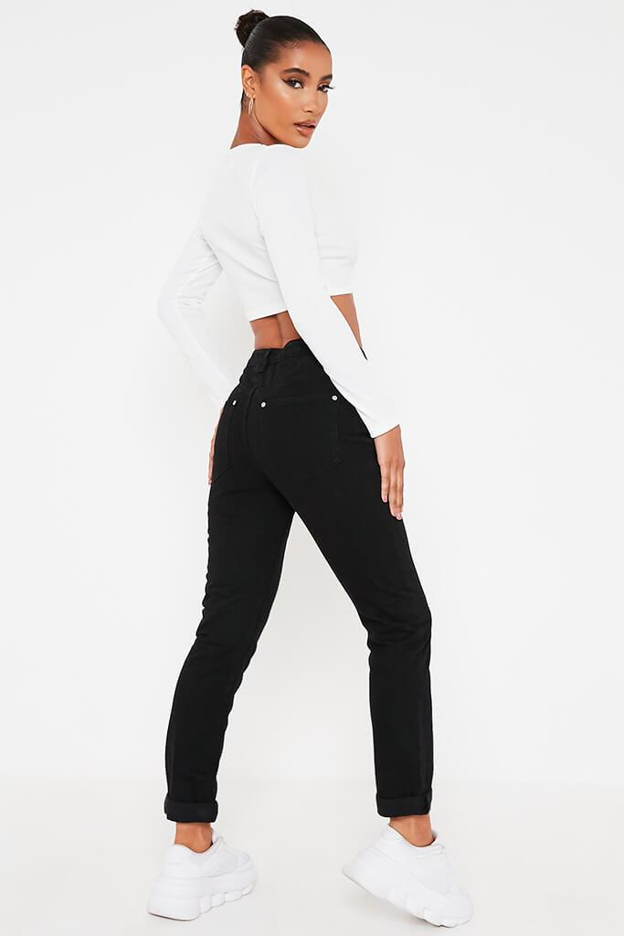 Black Mom Jeans With Roll Up Hem view 3