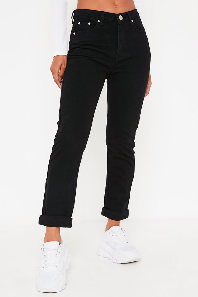 Black Mom Jeans With Roll Up Hem view 2