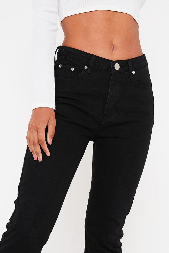 Black Mom Jeans With Roll Up Hem view 4
