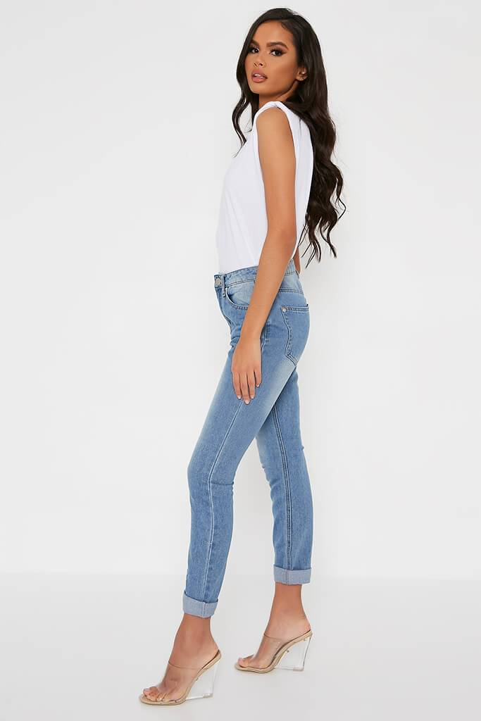 Light Wash Mom Jeans With Roll Up Hem view 3