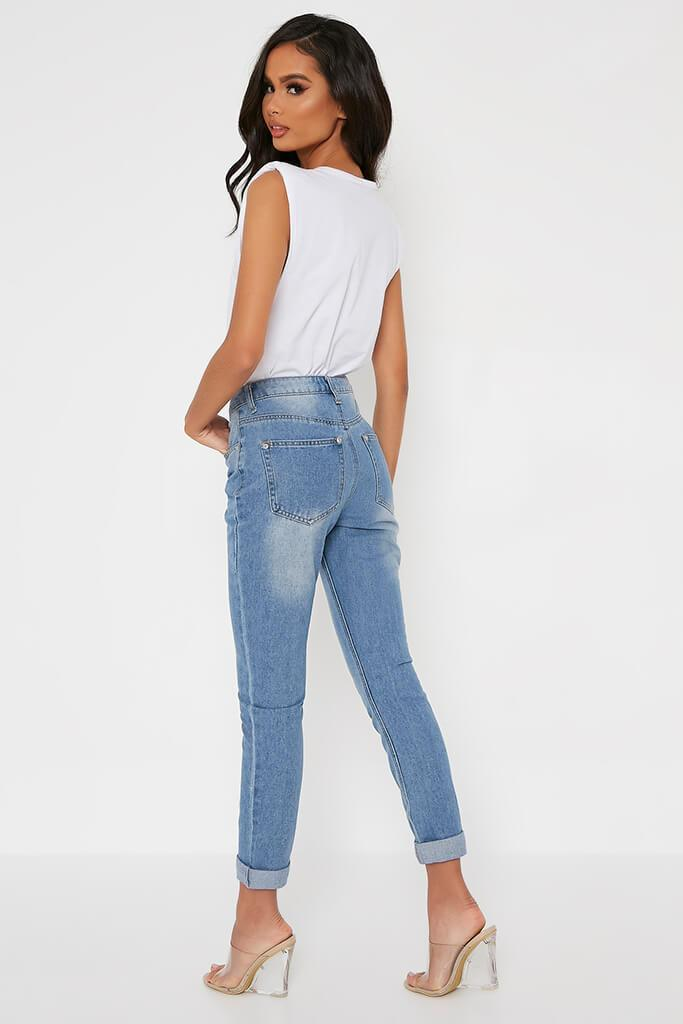 Light Wash Mom Jeans With Roll Up Hem view 5