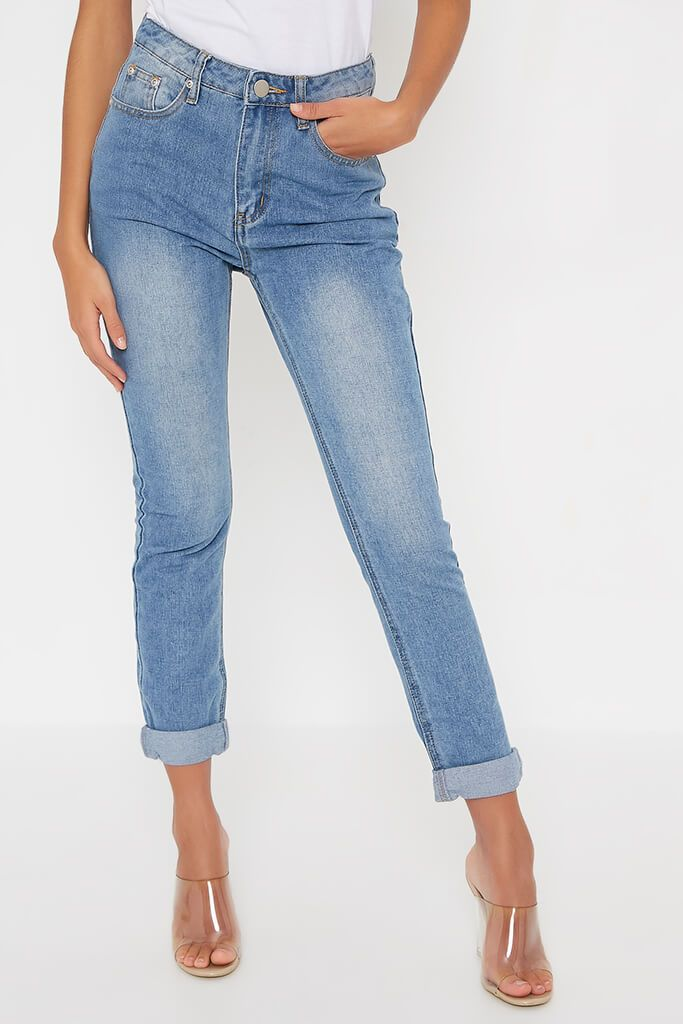 Light Wash Mom Jeans With Roll Up Hem view 2