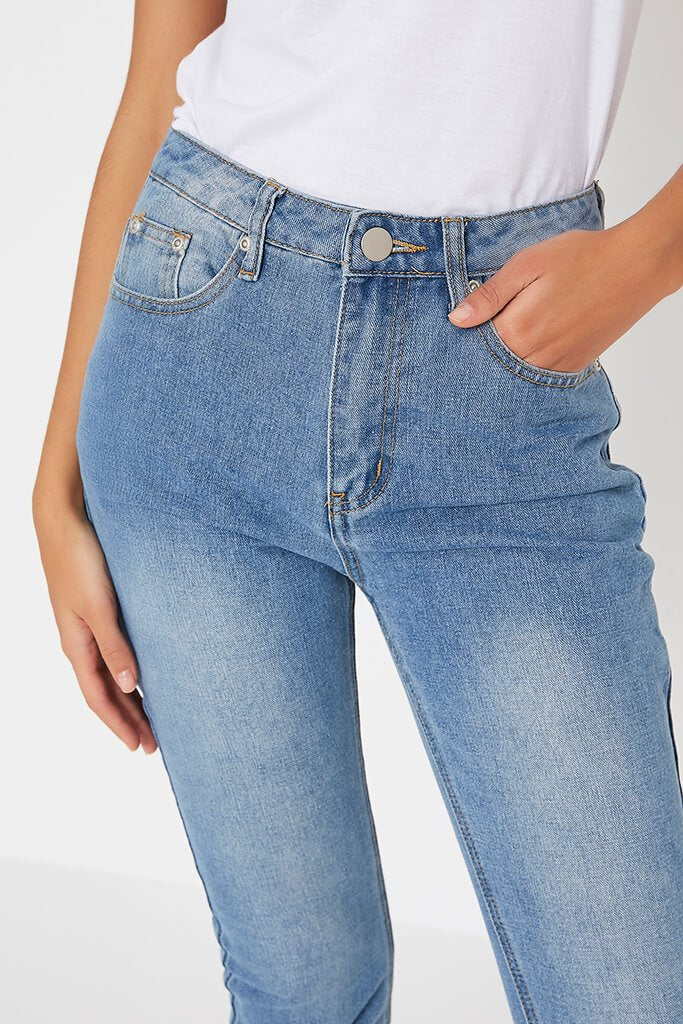 Light Wash Mom Jeans With Roll Up Hem view 4