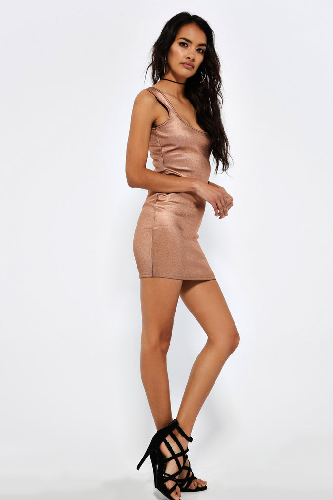 Rose Gold Foil Bodycon Dress view 3