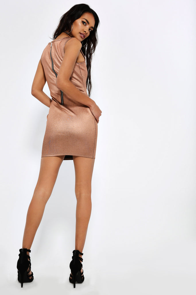 Rose Gold Foil Bodycon Dress view 4