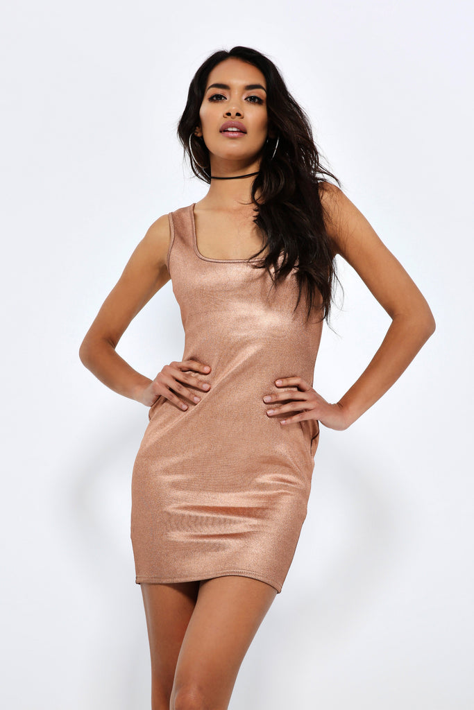 Rose Gold Foil Bodycon Dress