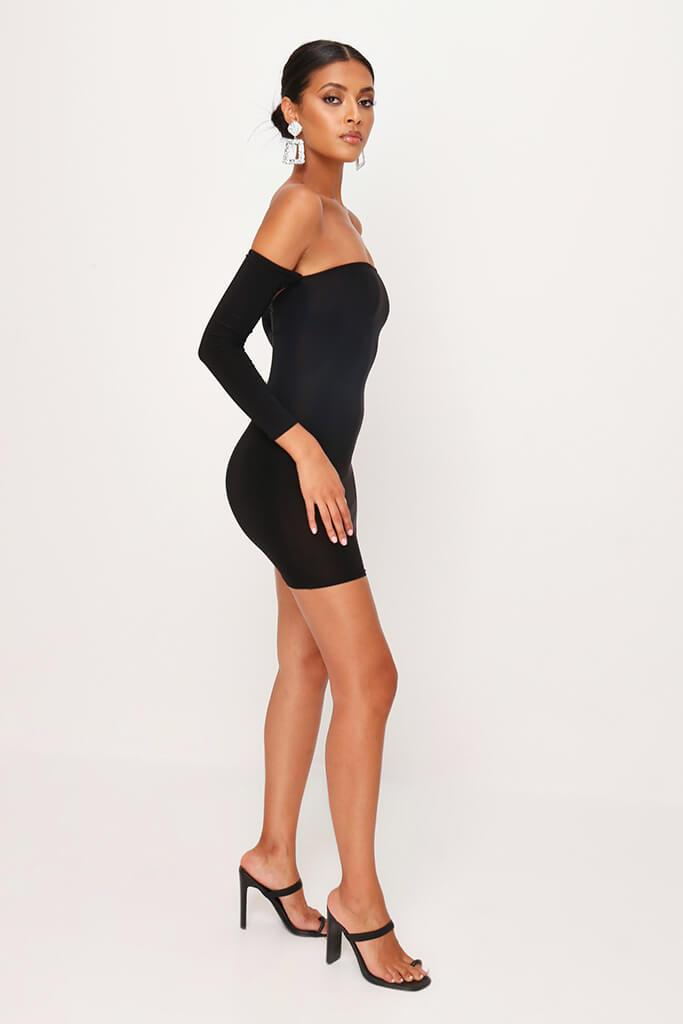 Black Off The Shoulder Bodycon Dress view 3