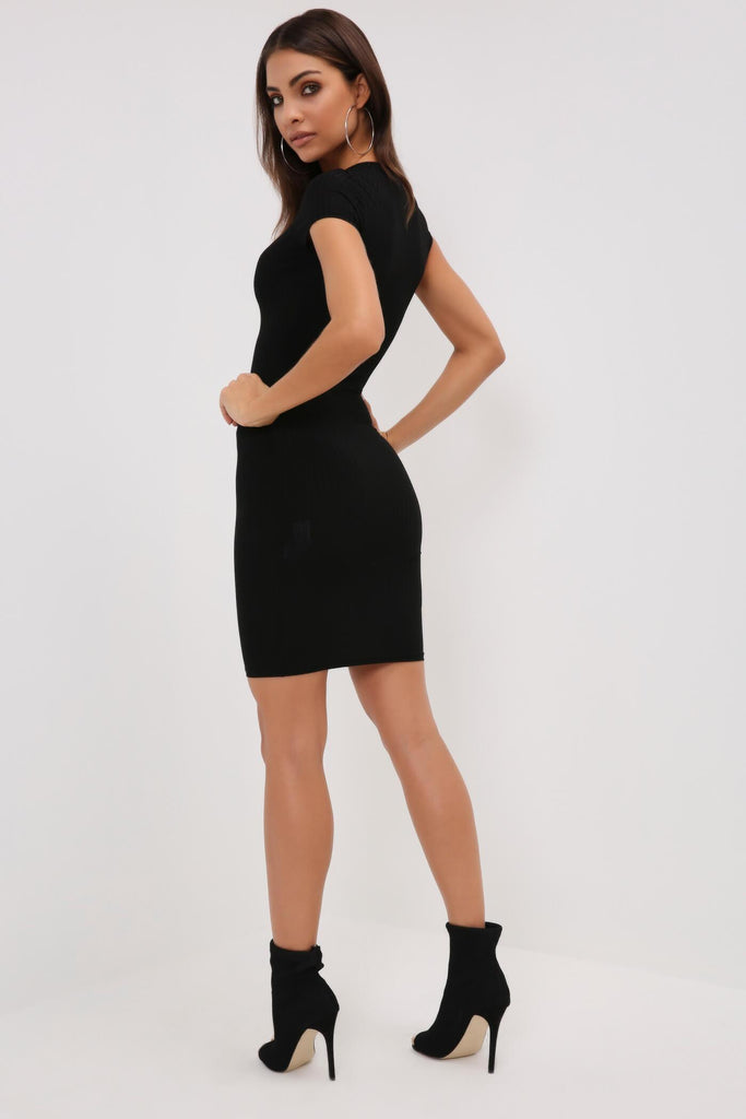 Black Ribbed Mini T-Shirt Dress