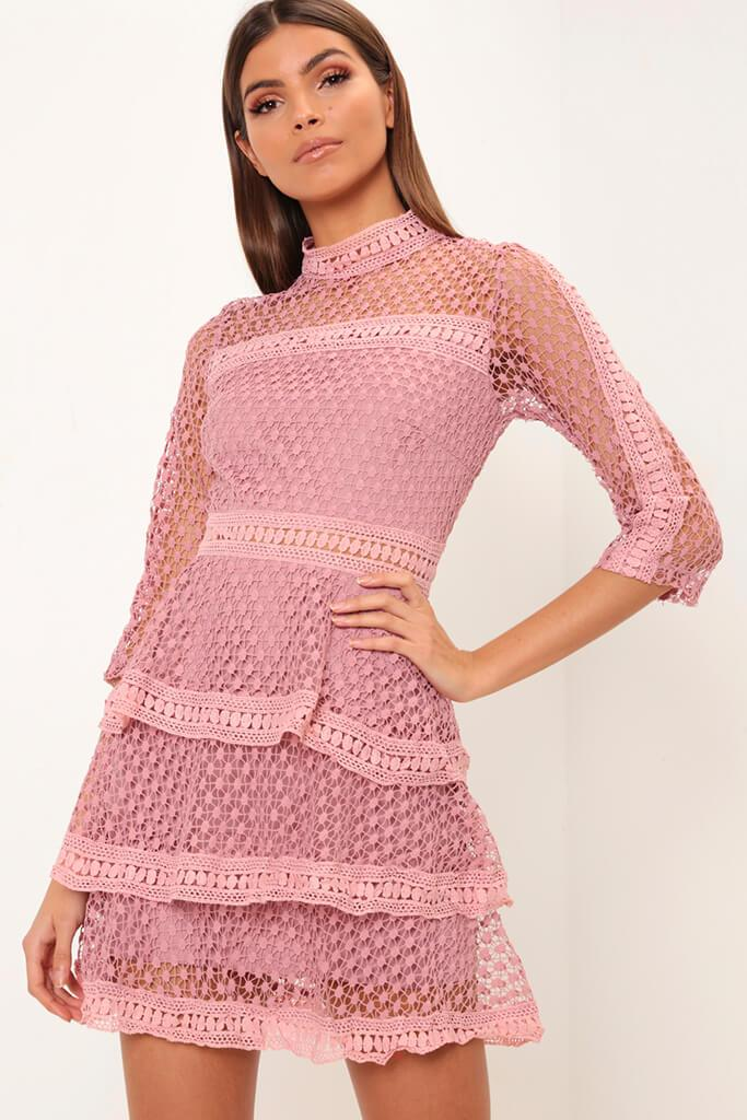 Dusky Pink High Neck Crochet Mini Dress Pdp I Saw It First