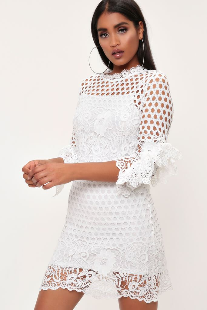 White Crochet Lace And Mesh Mini Dress